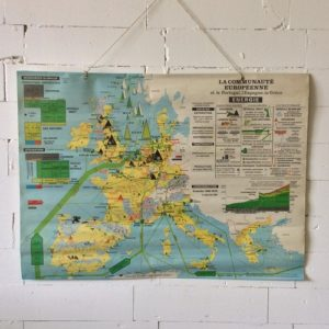 Oude Franse schoolkaart Europa dubbelzijdig Hal 72 Stoer industrieel wonen 1
